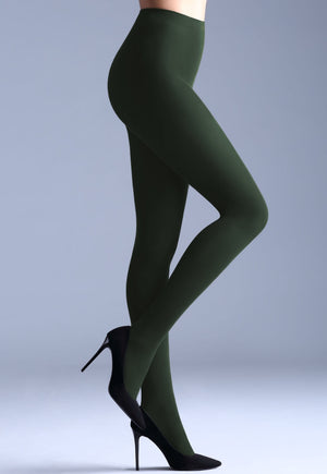 Samba 40 Den Opaque Coloured Tights by Giulia in deep bottle green