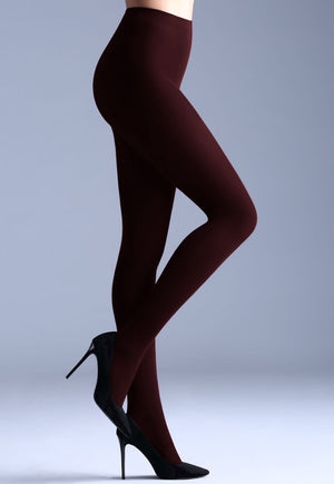 Samba 40 Den Opaque Coloured Tights by Giulia in marsala red wine maroon