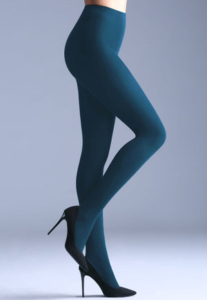 Samba 40 Den Opaque Coloured Tights by Giulia in Navy peony teal blue