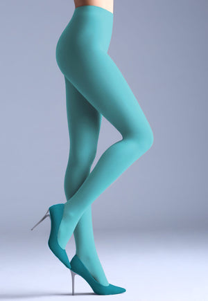 Samba 40 Den Opaque Coloured Tights by Giulia in mint green