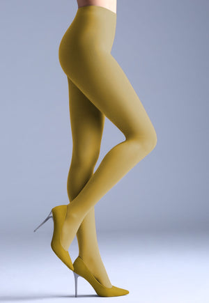 Samba 40 Den Opaque Coloured Tights by Giulia in olive mustard yellow