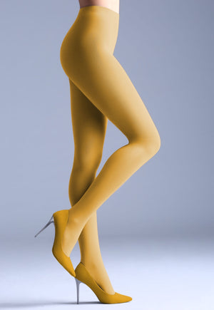 Samba 40 Den Opaque Coloured Tights by Giulia in yellow moon