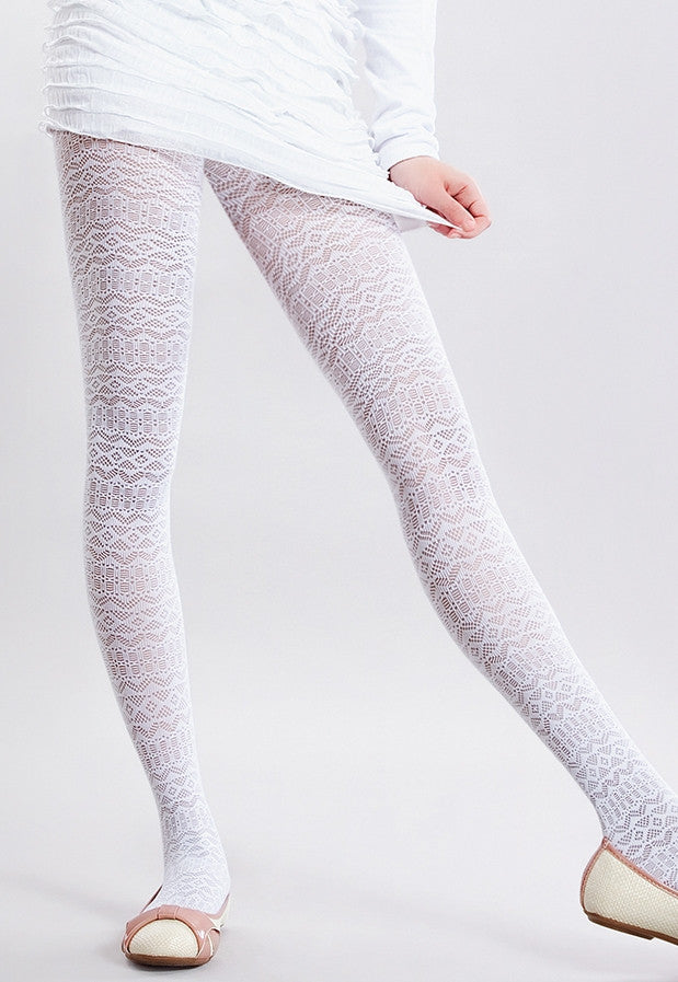 Sandy Geometric Patterned Lace Girls' Tights by Giulia