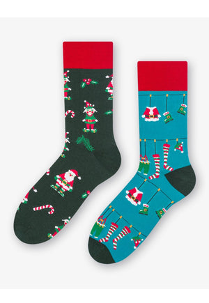 Santa's Team Odd Patterned Socks in Teal & Green by More