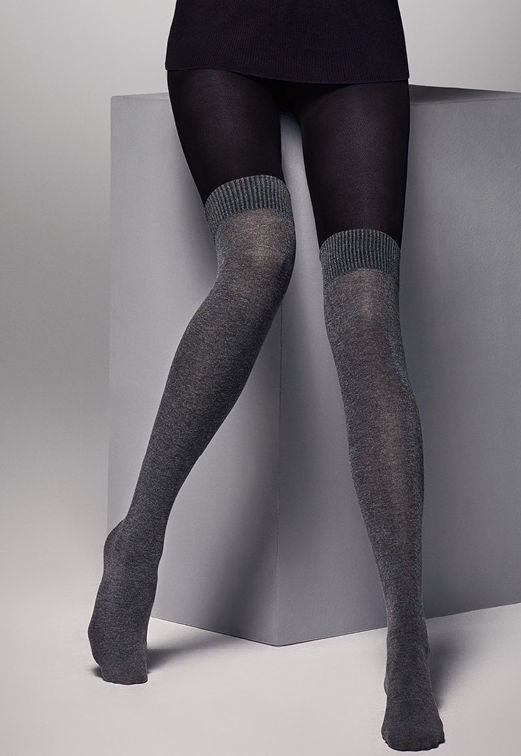 Sara Marl Over-Knee Socks Effect Tights by Veneziana in black marl grey