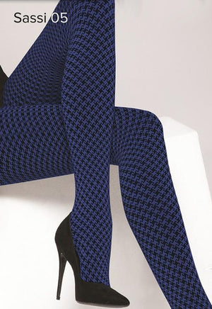 Sassi 05 Houndstooth Patterned Tights by Gatta in blue black