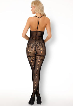 Serminsa Patterned Lace & Holed Seams Bodystocking by LivCo in black