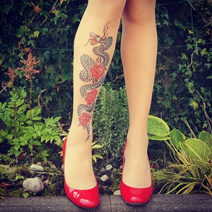 Serpent Power Tattoo Printed Sheer Tights/Pantyhose