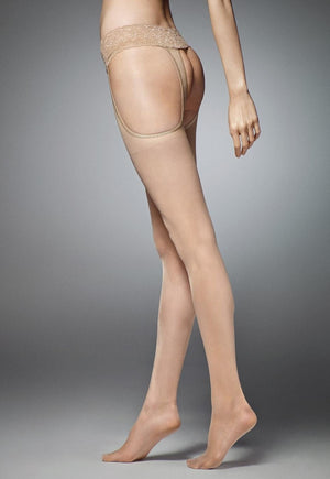 Sexy Strip Sheer Suspender Tights by Veneziana in nude tan