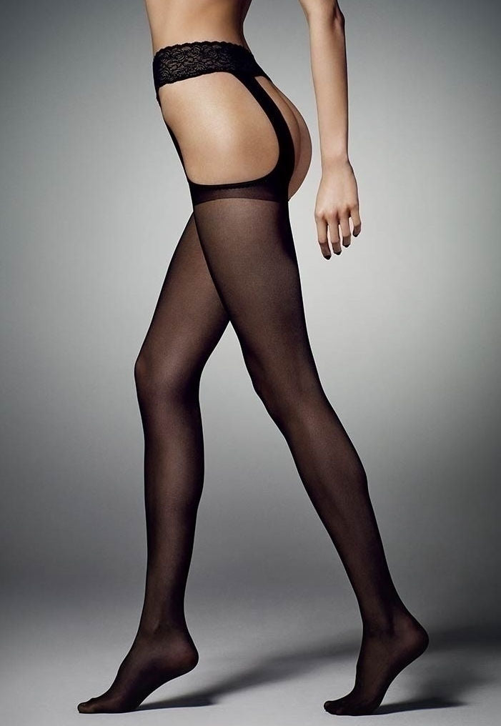 Sexy Strip Sheer Suspender Tights by Veneziana in black