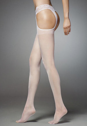 Sexy Strip Sheer Suspender Tights by Veneziana in white