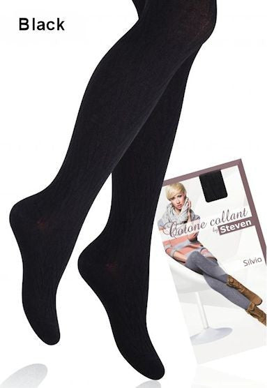 Silvia Cotton Rich Patterned Tights in Black