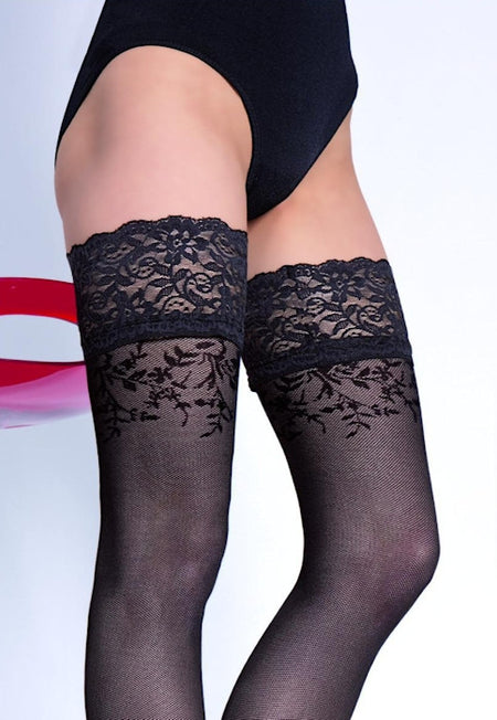Jackie Mock Hold-Up & Lace-Up Tights by Adrian