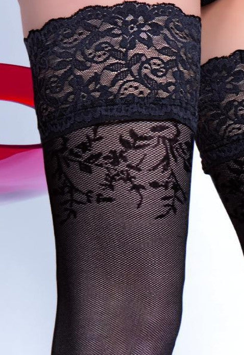 Simona 30 Denier Floral Micronet Hold-Ups by Fiore