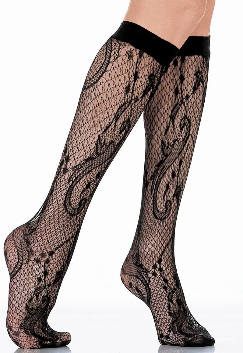 Sissi Lace Fishnet Knee-High Socks by Veneziana