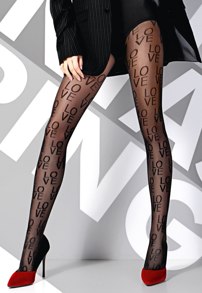Sketch 'LOVE' Patterned Sheer Tights by Giulia in black