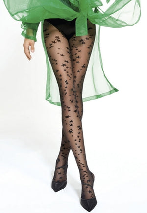 Skylar Stars Patterned Sheer Tights by Adrian in black