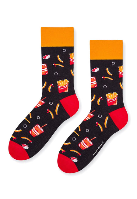Sushi Odd Patterned Socks in Grey & Orange by More
