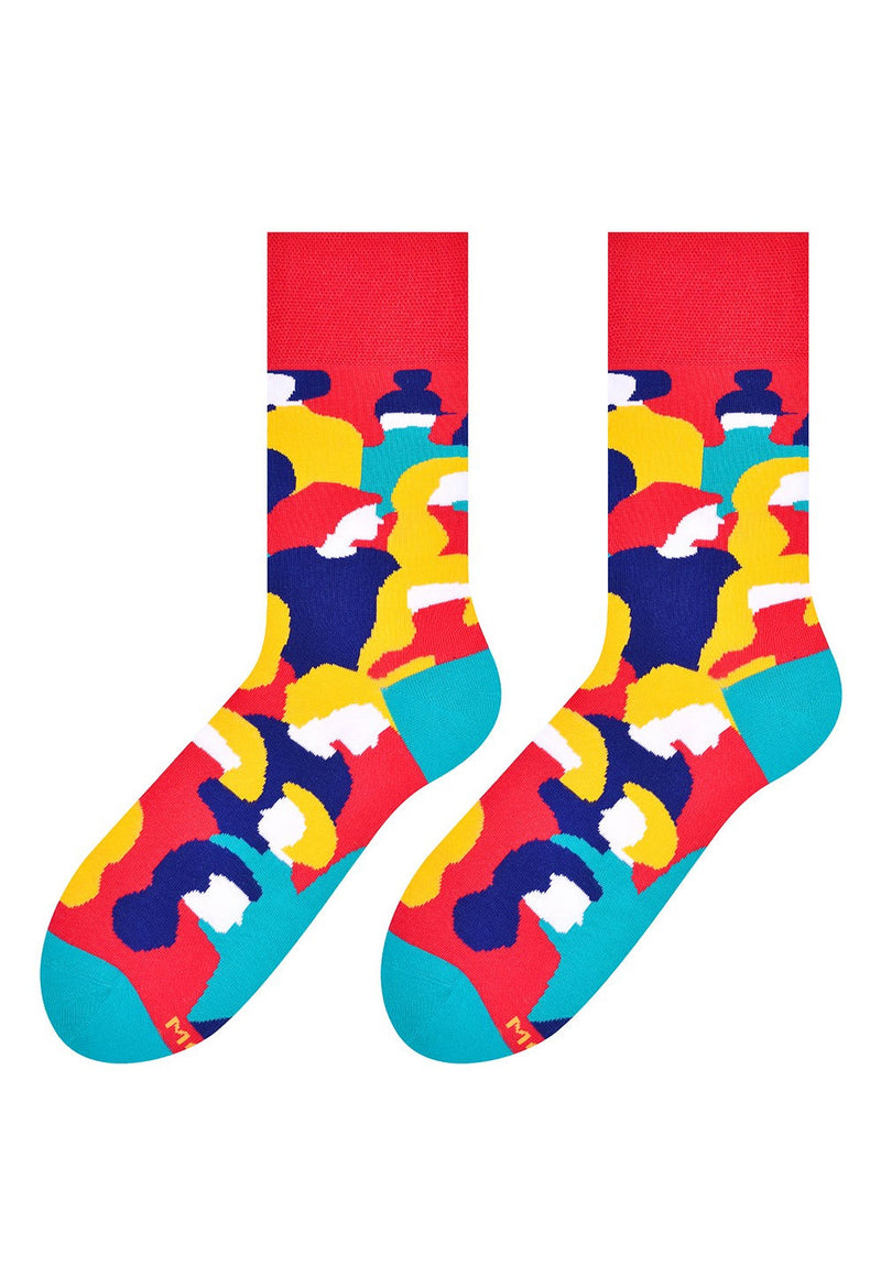 Society Abstract Faces Patterned Socks by More