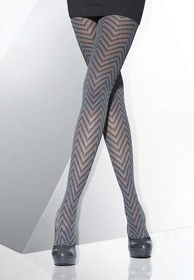 Sonia Zig Zag Patterned Fashion Tights by Adrian