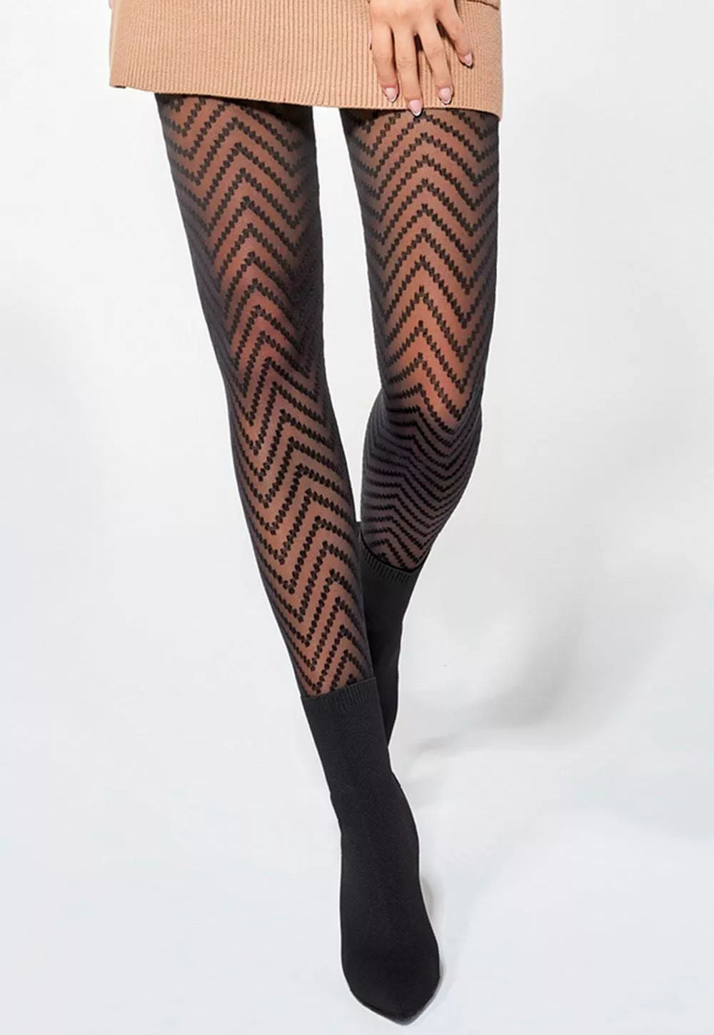 Sonia Chevron Stripes Patterned Tights by Adrian in black