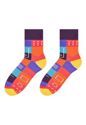 Abstract Squares Patterned Socks in Purple by More