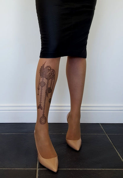 Steampunk Heart Tattoo Printed Sheer Tights/Pantyhose