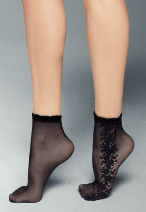 Susi Flower Patterned Sheer Socks by Veneziana