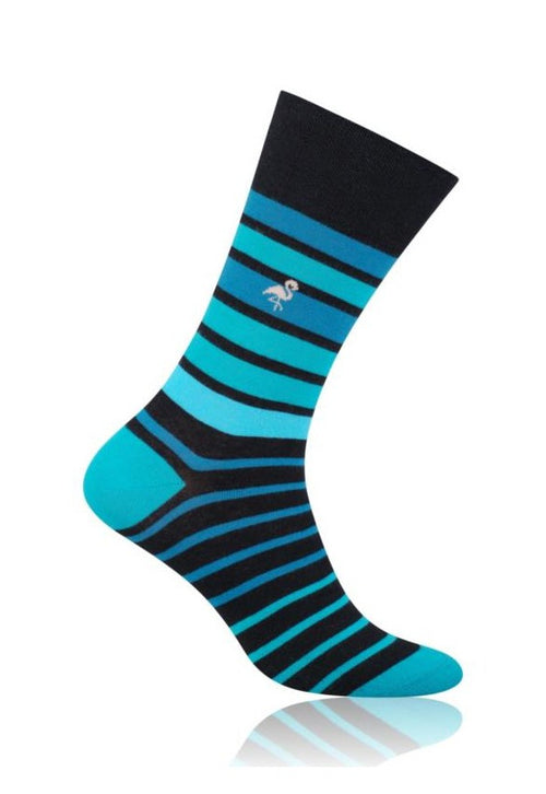 Faded Stripes Patterned Cotton Socks in Turquoise by More