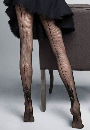 Tiffany Fishnet Backseam & Lace Tights by Veneziana