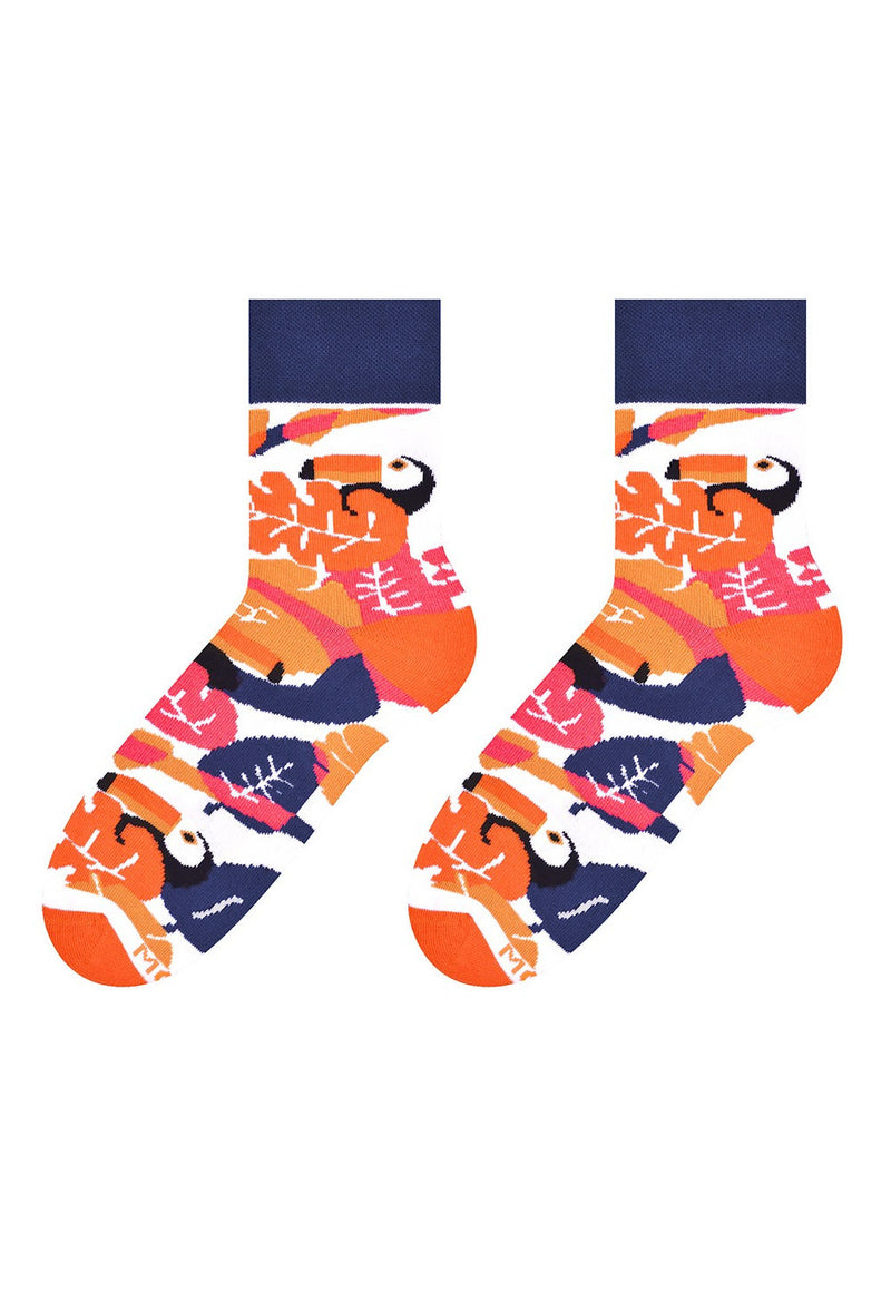 Toucan & Leaves Patterned Socks in Orange by More