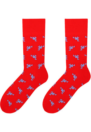 Small Triangles Patterned Cotton Socks in Red by More