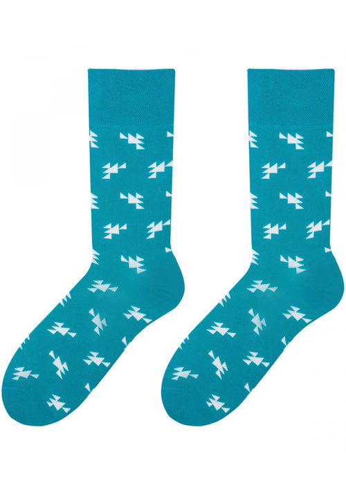 Small Triangles Patterned Cotton Socks in Turquoise by More