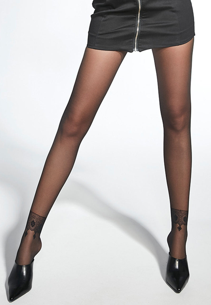Tricia Ankle Wraparound Design Sheer Tights by Adrian in black
