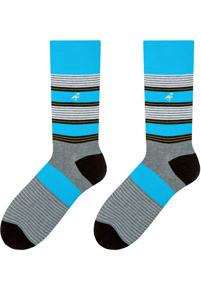 Striped Patterned Socks in Turquoise & Grey by More