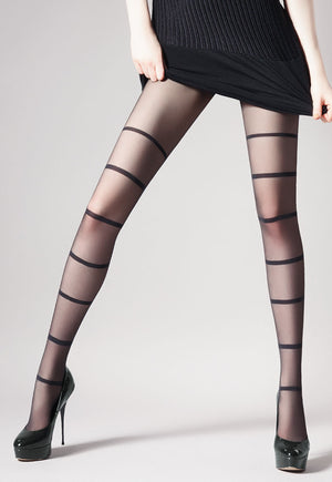 Unit 1 Stripes Patterned Sheer Tights by Giulia