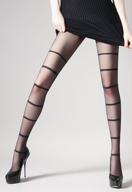 Unit 1 Reverse Stripes Patterned Tights by Giulia