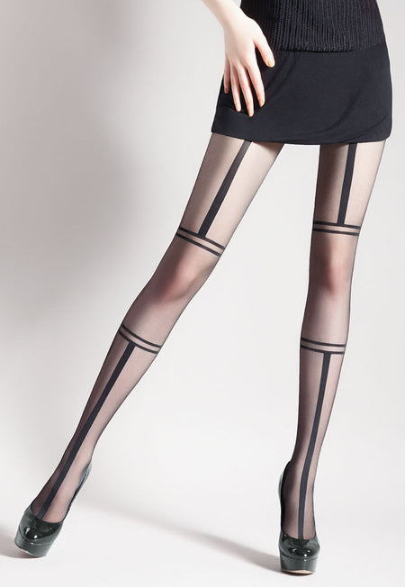 Eva Backseam & Lace-Up Sheer Stockings by Veneziana