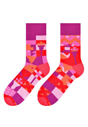 Valentine's Abstract Patterned Socks in Red by More