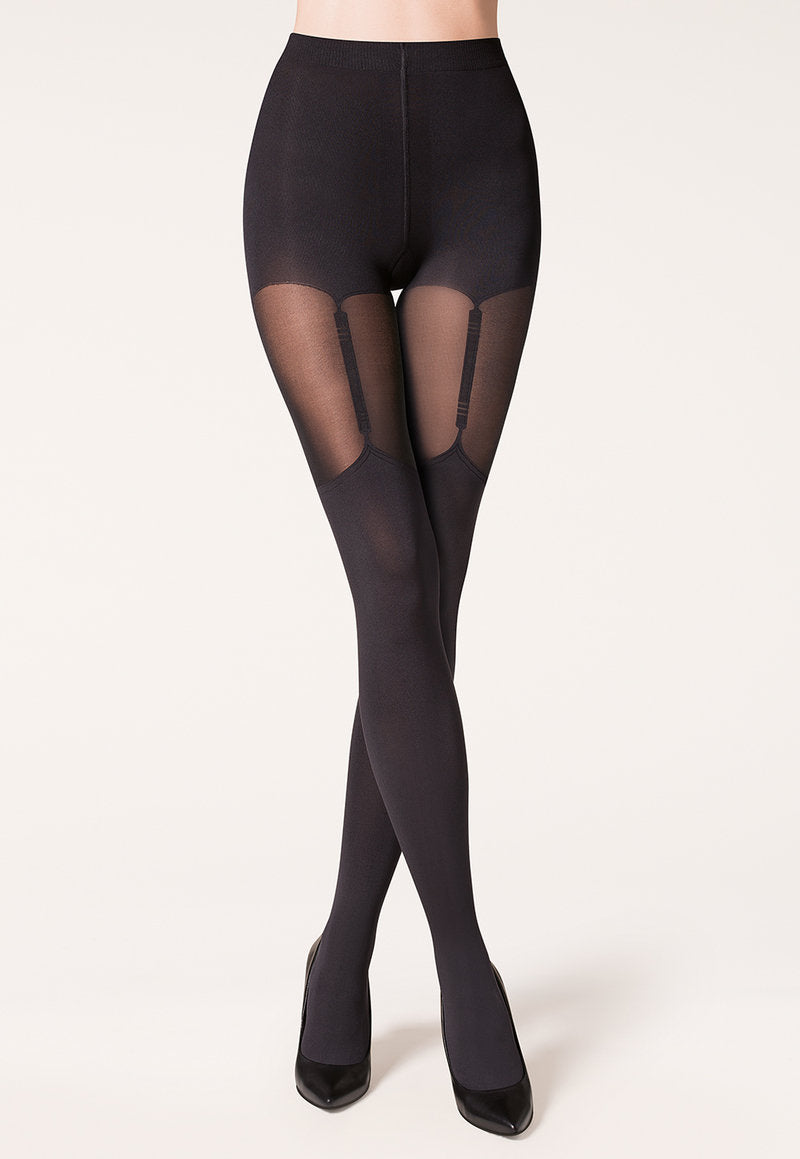 Valery Mock Hold-Up & Suspender Tights by Gabriella in Black