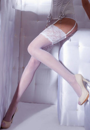 Venus 15 Denier Lace Top Sheer Stockings by Gatta in white wedding