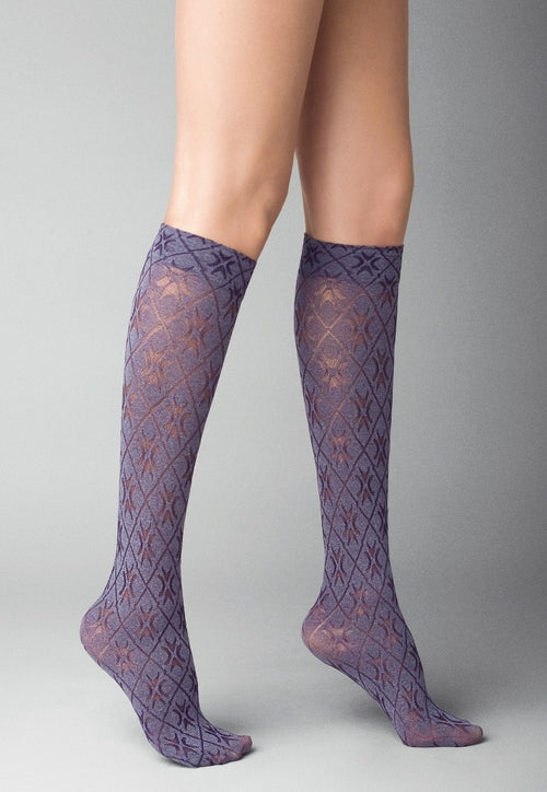 Victoria Patterned Fashion Knee-High Socks by Veneziana