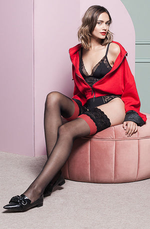Victoria Red Detail Black Sheer Hold-Ups by Gabriella