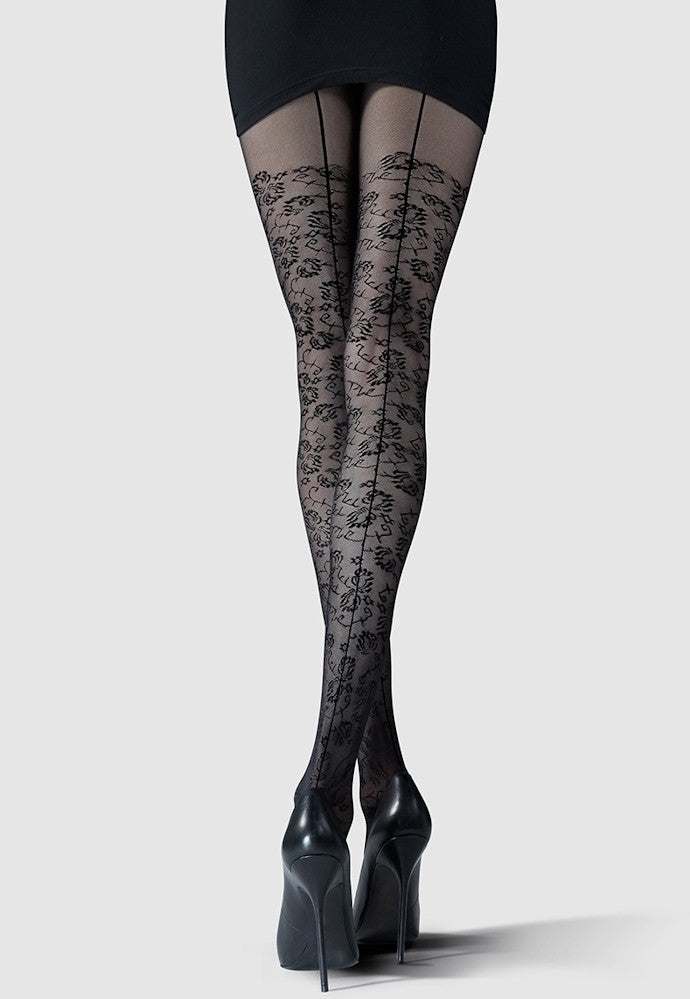 93b27bf90 Wish Flower Patterned Backseam Tights by Knittex