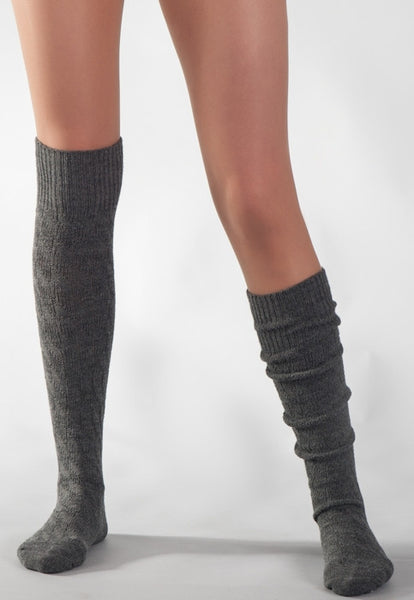 Wool Chunky Knitted Patterned Knee-High Socks by Steven