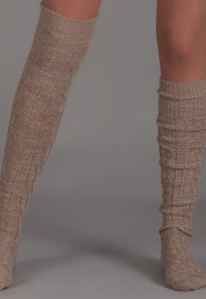 Wool Chunky Knitted Patterned Knee-High Socks by Steven in Beige
