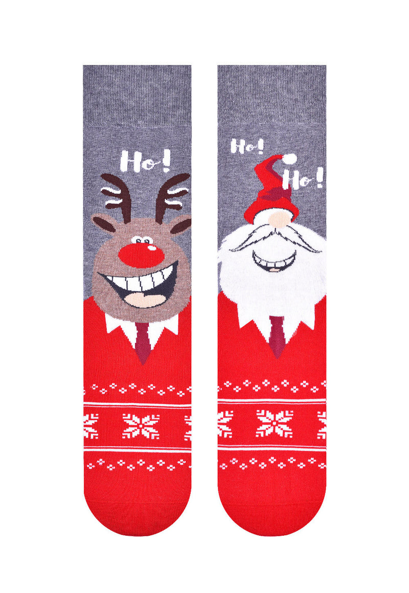 Christmas Couple Odd Patterned Socks in Grey by More