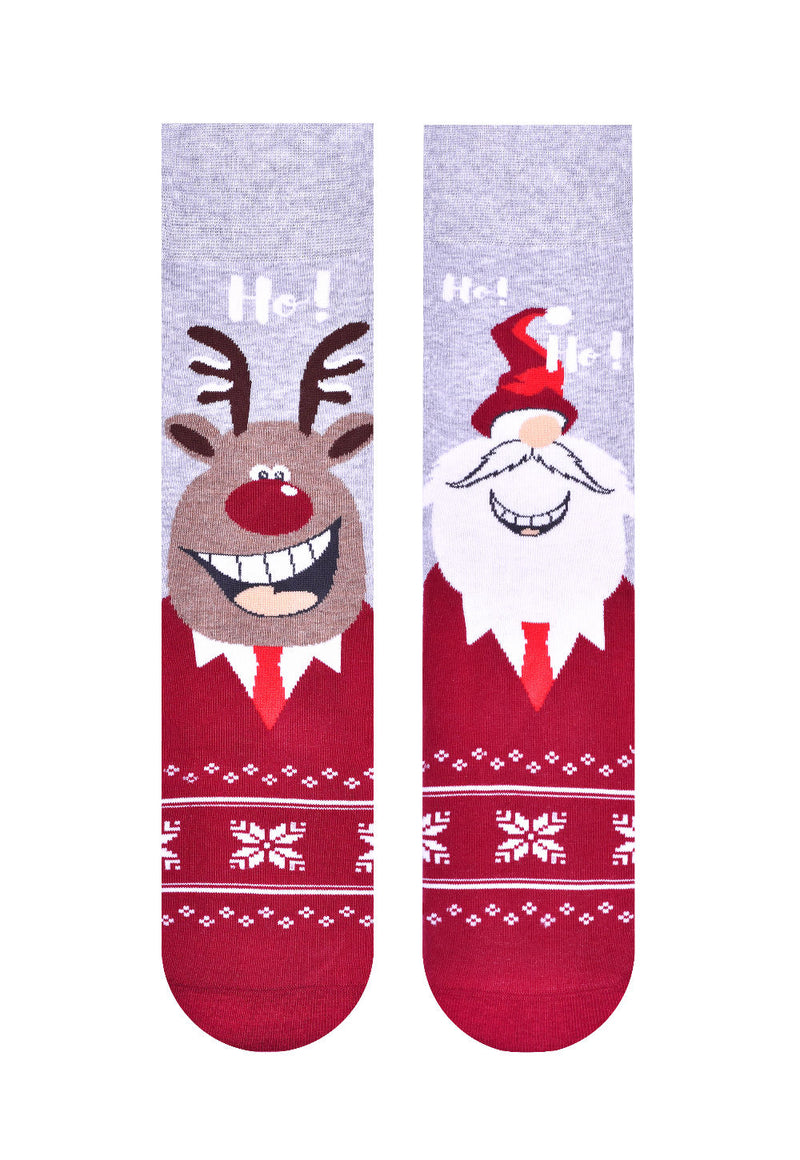 Christmas Couple Santa & Rudolph the Reindeer Odd Patterned Socks in Grey by More