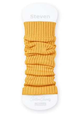 Ribbed Cotton Kids' Leg Warmers by Steven in yellow