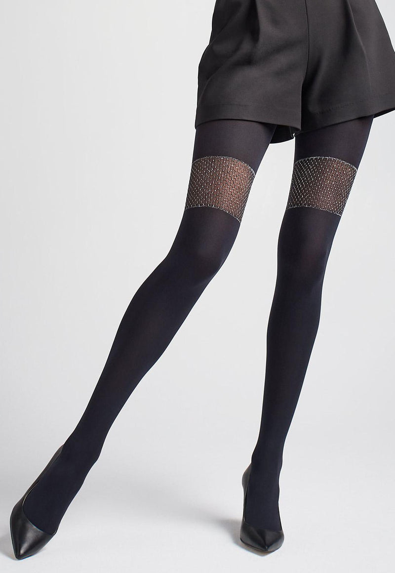 Zazu 04 Mock Over-Knee Sock Tights with Silver Fishnet Band by Marilyn